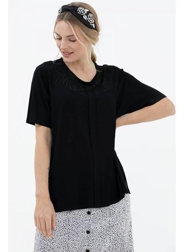Sementa Geniş Kalıp Taş Detaylı Kısa Kol Bluz - Siyah Siyah